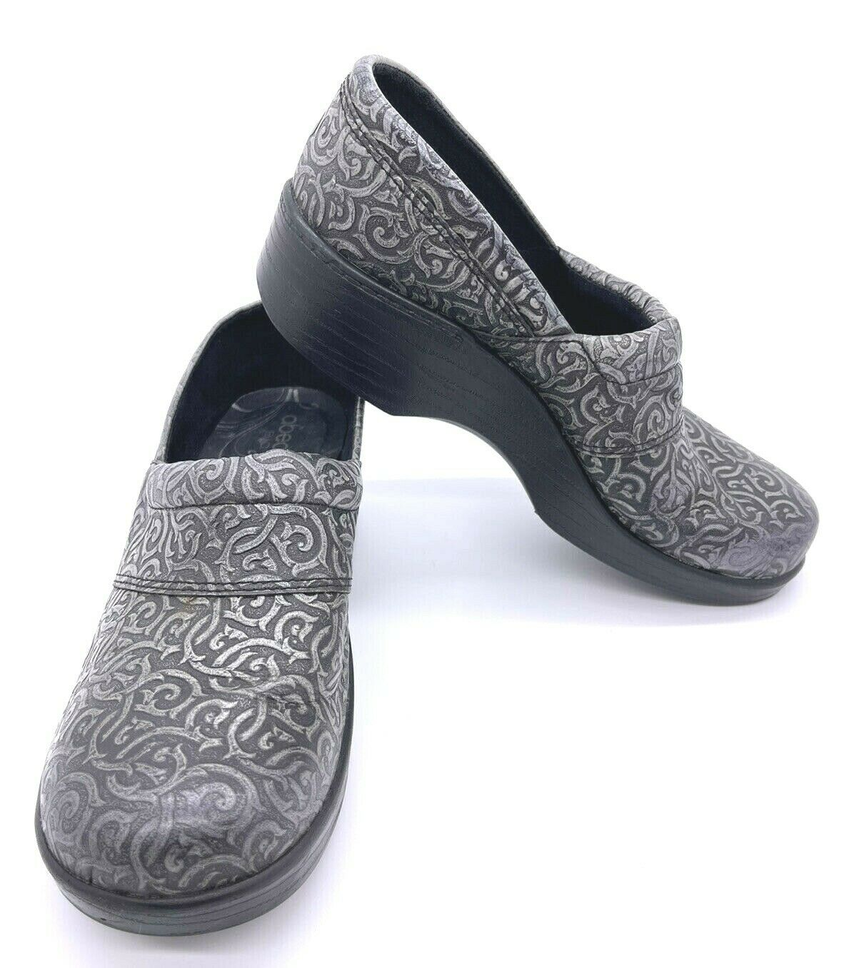 ABEO Women's Flora Black/Silver Embossed Leather Clogs Nursing Shoes Sz 8.5 N