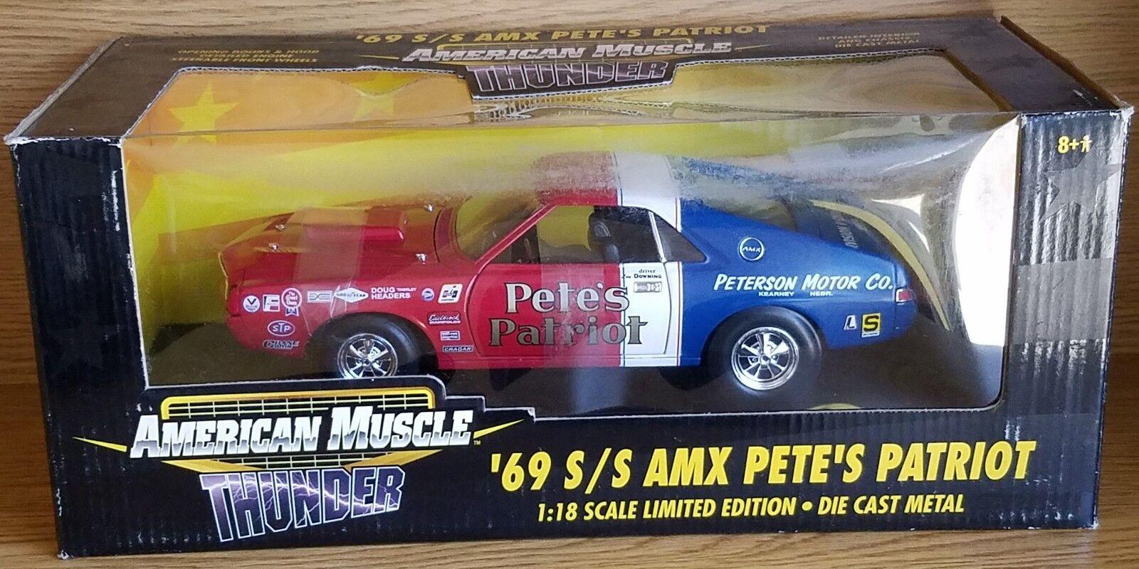 venta caliente en línea 1 18 18 18 Ertl American Muscle 1969 AMX S S Pete's Patriot Rojo, blancoo y Azul RD  cómodamente