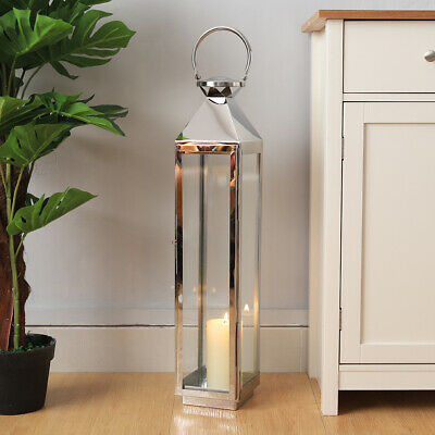 70cm Tall Metal Lanterns Clear Candle Holder Hanging Free Standing Lamp Decor Uk Ebay