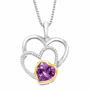 1 1/10 ct Natural Amethyst Triple Heart Pendant with Diamonds Silver & 14K Gold