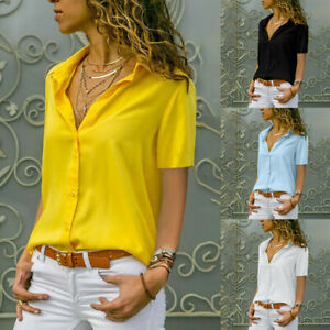 Women-Short-sleeve-T-Shirt-Button-Blouse-V-neck-Lapel-Sexy-Summer-Solid-Casual