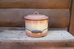 Antique End of Day Pink Cream Banded Shaded Graniteware Enamelware Berry Bucket