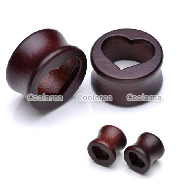 Pair Hollow Heart Cutout Organic Wood Tunnels Ear Plugs Gauge Expander 10-20mm
