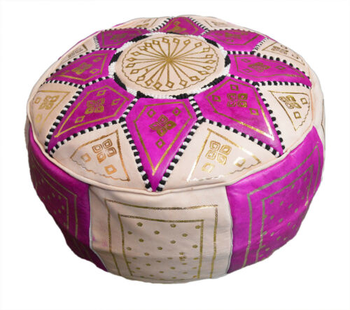 Pouf Moroccan Hassock Pooff Leather  Pouff Ottoman Footstool Medium Magenta