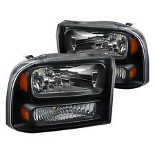 99-04 Ford F250 F350 Excursion Black Headlights 1pc Upgrade Super Duty Truck