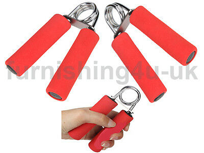 SET OF 2 RED HAND GRIPPER BODY BUILDING EXERCISE FITNESS FOAM HANDLE WRIST GRIP