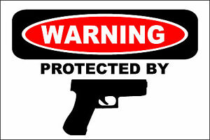 Metal-Sign-Warning-Protected-By-Hand-Gun-8-x-12-Aluminum-S180