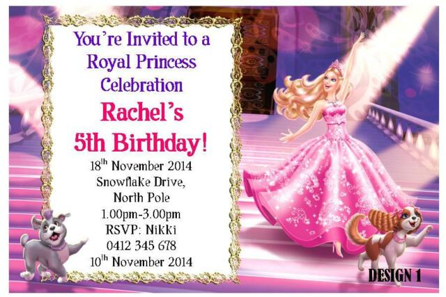 20 X BARBIE CHILDRENS GIRLS BIRTHDAY PERSONALISED INVITATIONS CARDS MAGNETS