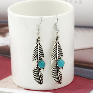 925-Sterling-Silver-Hooks-Vintage-Silver-Alloy-Dangle-Turquoise-Feather-Earrings