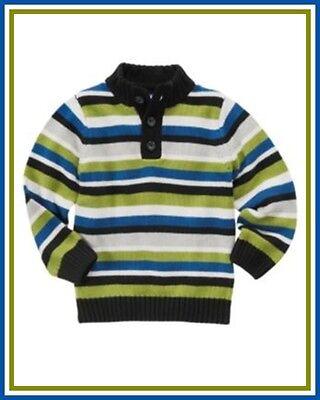 NWT Gymboree sz 5-6 7-8  ICE HERO Blue Black Striped Button Sweater Cardigan