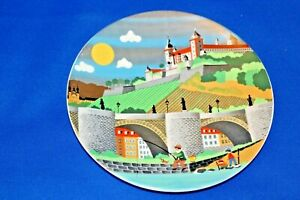 Beautiful-Colourful-Poole-Pottery-Plate-435-Fishing-scene-V-6-034-diameter-A1-Cond