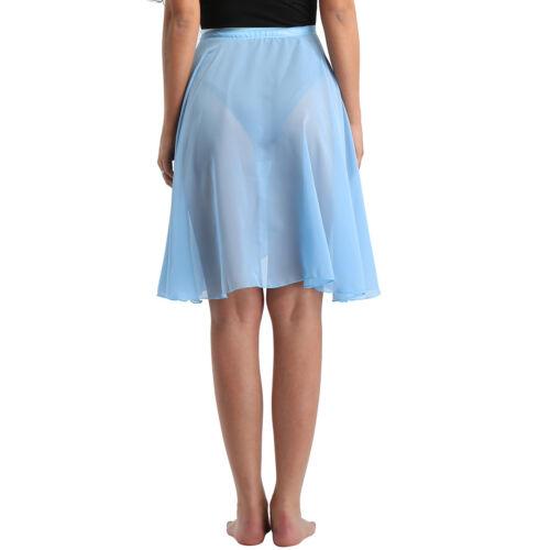 Women Chiffon Skirt Waist Tie Ballet Dance Asymmetrical Scarf Dress Performance