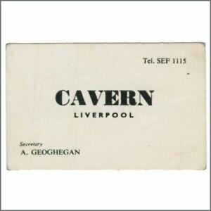 Alf Geoghegan Late 1960s Cavern Club Business Card Uk Ebay