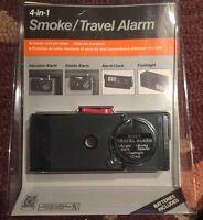 Vintage Sears 4-in-1 Travel Clock, Smoke Detector, Flashlight & Intrusion Alarm