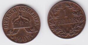1 Heller Kupfer Münze Deutsch Ostafrika 1905 J (122670) Husten Heilen Und Auswurf Erleichtern Und Heiserkeit Lindern