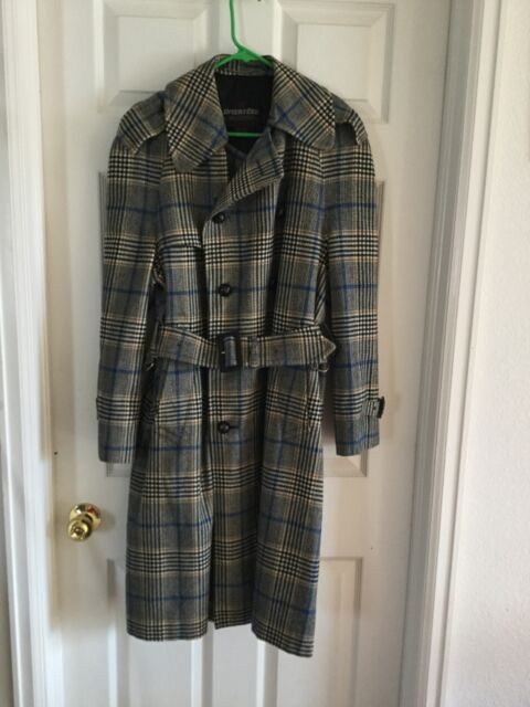 VNTG Men's Invertere Of England Trench Coat Wool Multi-Colored Plaid Size 38