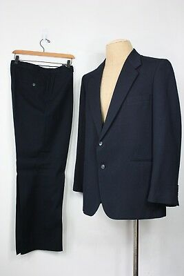 Vintage Yves Saint Laurent Abito 44 Blu Navy Lana 70's Made In France Ysl Piacevole Nel Dopo-Gusto