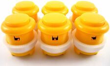 6 x 28mm Round Convex Curved Arcade Push Buttons & Microswitches (Yellow) - MAME