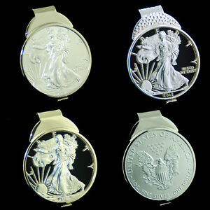 Silver-Eagle-1-oz-USA-American-USA-Dollar-Cut-Coin-Money-Clip-Jewelry