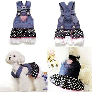 Small-Pet-Dog-Dress-Cat-Strap-Skirt-Lovely-Dot-Puppy-Clothes-Apparels-Coat-XS-XL