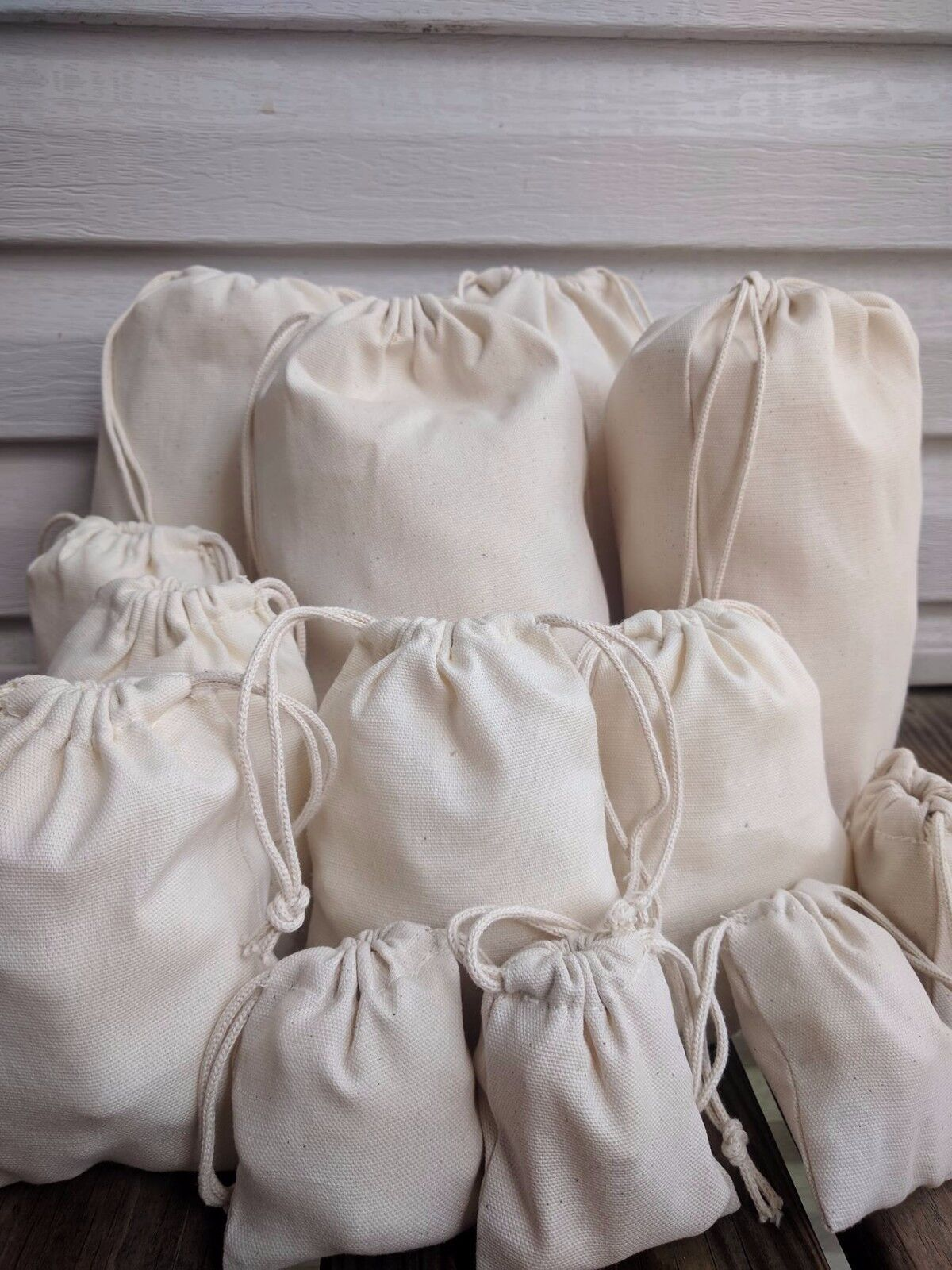 8 x 10 Inches Organic Cotton Canvas Muslin Drawstring Bag. Premium Quality Bags.
