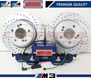 FOR-BMW-M3-E46-3-2-REAR-PERFORMANCE-DRILLED-COATED-BRAKE-DISCS-PADS-WIRE-SENSOR
