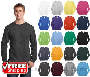 Mens-Long-Sleeve-T-Shirt-Cotton-Comfort-Soft-Blank-Color-Tee-Plain-Casual-PC54LS