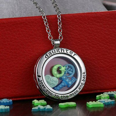 Fashion Living Memory Daughter Locket+50pcs Floating Charms Necklace Moon & Back