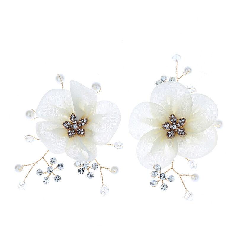 2pc Shoe Clip Floral Pearl DIY Women Sandals Charms Flower Clips Shoes Buckle IH
