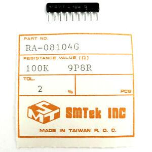 20-x-SMTEK-100K-9P8R-LOW-PROFILE-2-NETWORK-ARRAY-RESISTOR-SIP-9-RA-08104G-NEW