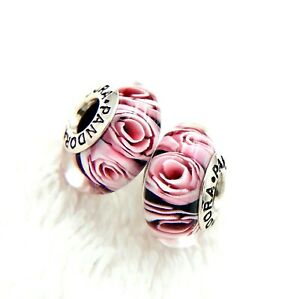 2-PANDORA-Silver-925-ALE-Murano-Charm-Pink-Rose-Flower-Beads-376NM