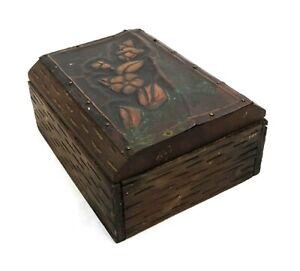 Antique Handmade Arts and Crafts Hammered Copper Carved Wood Floral Trinket Box