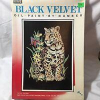 Black Velvet Oil Paint By Number Kit 10x14 Painting Curious Cub Leopard