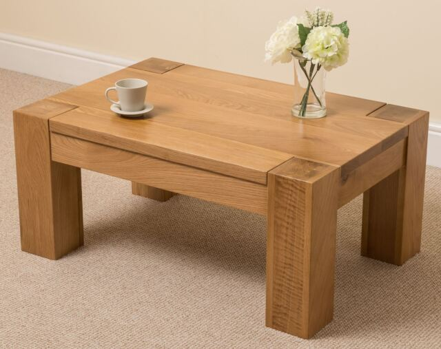 Ordinary Chunky Wood Coffee Table Part - 9: Kuba Solid Oak Wood Coffee Table Unit Wooden Living Room Furniture