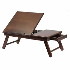 Portable Laptop Desk Folding Lap Tray Bed Adjustable Foldable Table Stand Wood