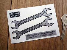 "BUILT NOT BOUGHT Spanner Shaped Stickers 4"" Pair Custom Car Bike Cafe Racer"
