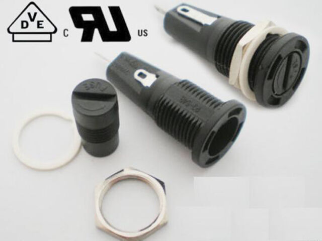 5Pcs Fuse Holder R3-54B 6.3A 250V 10A 125V for 5 x 20mm Fuse