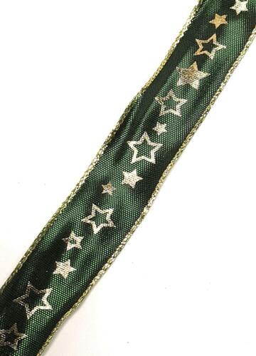 1m//0,40€ SCHLEIFENBAND 20m x 25mm Grün Gold Sterne Dekoband GESCHENKBAND #1755