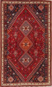 Vintage-Geometric-Tribal-Abadeh-Nafar-Area-Rug-Wool-Hand-Knotted-Carpet-5-039-x8-039