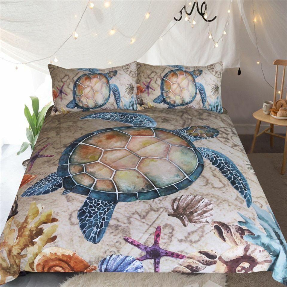 Home Textile Bett Startseite Set Sea Turtle 3-Piece Marine Animal Microfiber Bettclothe