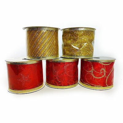 CHRISTMAS RED / GOLD RIBBON SPOOL - 5 DESIGNS - 2.7M LENGTH - GIFT WRAP / CRAFTS