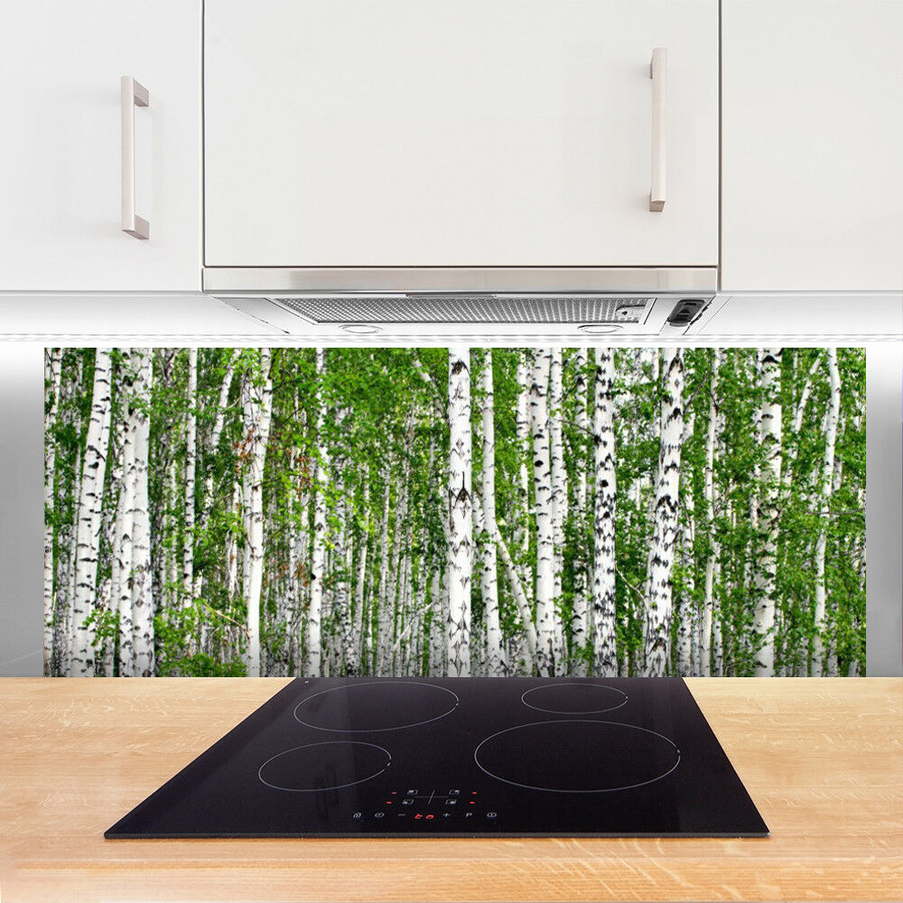 Crédence Crédence Crédence de cuisine en verre Panneau 125x50 Nature Bouleau Forêt Arbres dd262b
