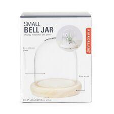Kikkerland Small Glass Bell Jar Decorative Plants Display Pine Wood Base Gift