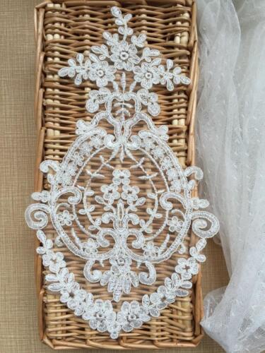 Vestido de encaje Marfil bordado de recorte coser motivo de boda de novia Hazlo tú mismo Con Apliques 1 PC