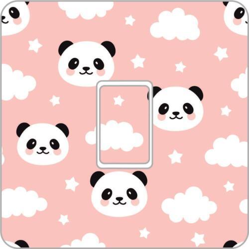 Panda face Full Colour UK Light Switch Vinyl Sticker Skin nursery bedroom Ls29