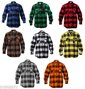Mens Black And White Flannel Shirt
