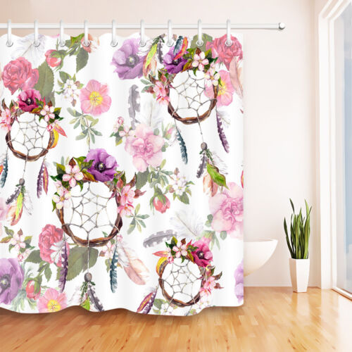 "60//72/""Color Flower Dream Catcher Shower Curtain Waterproof Fabric Bathroom /&Mat"