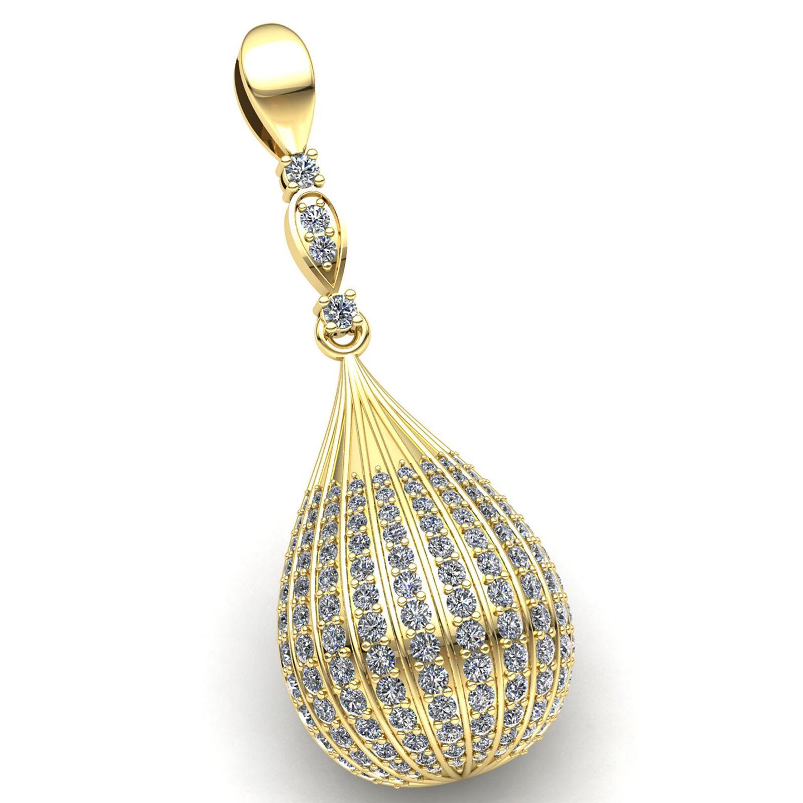 Genuine 2ct Round Cut Diamond Ladies Pave Bar Trellis Pendant 18K gold