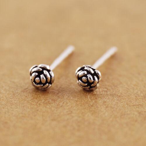 Argent Sterling 925 petit Fleur Oreille Cartilage 3 mm post Boucles d/'oreille A1933
