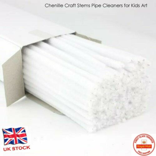 100 WHITE chenille craft stems pipe cleaners 30cm long 6mm UK Bundles Bristle